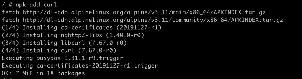 results of apk add curl in an Alpine Linux Docker container